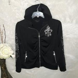 BCBG Maxazria Black Hoodie Jacket XL